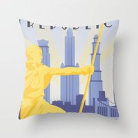 travel poster Throw Pillows featuring Republic City Travel Poster by HenryConradTaylor