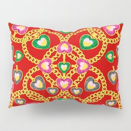 Fashion Print with Golden Chains and Jewelry Pillow Sham