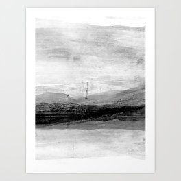 Grey and White Minimalist Abstract Landscape Art Print