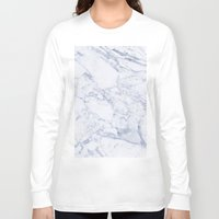 white marble Long Sleeve T-shirts featuring White Marble by SueM
