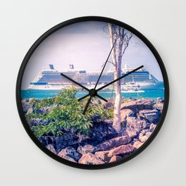 Cruise Ship Beyond The Sea Wall Wall Clock