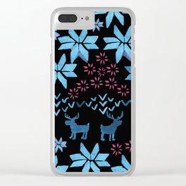 Christmas Fair Isle Clear iPhone Case