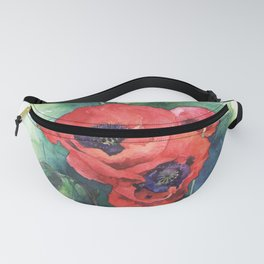 Watercolor red poppy flowers Fanny Pack
