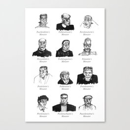 Field Guide to Man-Made Monsters (black & white) Canvas Print