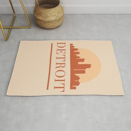 DETROIT MICHIGAN CITY SKYLINE EARTH TONES Rug