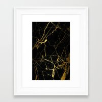 black and gold Framed Art Prints featuring Black & Gold by Coconuts & Shrimps