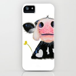 Nosey Friesian Cow ' DAFFODIL by Shirley MacArthur iPhone Case