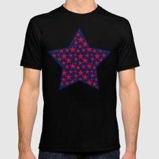 Red stars on bold blue background illustration MEDIUM Black Mens Fitted Tee