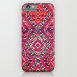 N118 - Pink Colored Oriental Traditional Bohemian Moroccan Artwork. iPhone Case