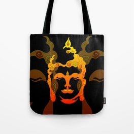Illustration Buddha Head orange black design Tote Bag