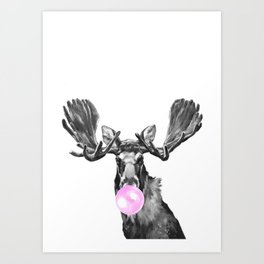Bubble Gum Moose in Black and White Art Print