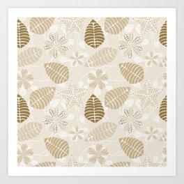 Neutral Color Tropical Leaf Pattern Art Print