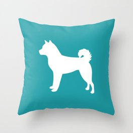 Shiba Inu (Aqua/White) Throw Pillow