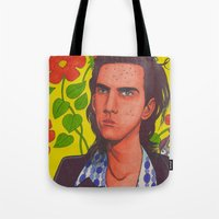 nick cave Tote Bags featuring Spotty Nick by Anna Gogoleva