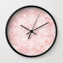 Elegant poinsettia and snowflakes doodles mandala art Wall Clock