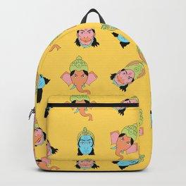Yellow Krishna, Ganesha, and Hanuman pattern Backpack