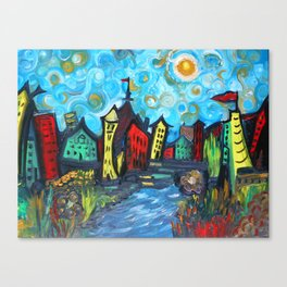 Primary color Cityscape Canvas Print