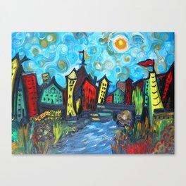 Primary color Cityscape Canvas Print
