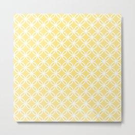Yellow and white interlocking circles Metal Print