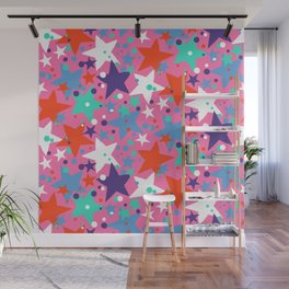 Fun ditsy print with constellations and twinkle lights Wall Mural