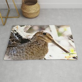 Watercolor Bird, Wilson's Snipe 01, Silver River, Florida Rug