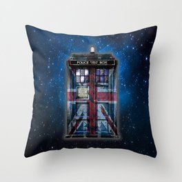 Union Jack Public Phone Booth Throw Pillow