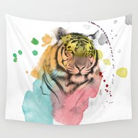 tiger Wall Tapestries featuring tiger by mark ashkenazi