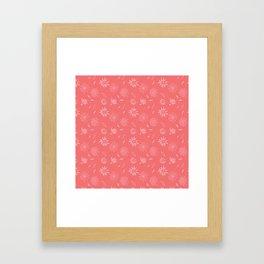 Coral Pink Flora Pattern 2 Framed Art Print