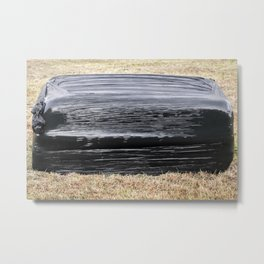 Square Black Silage Bale Metal Print