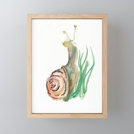 Searching - Watercolor and Gold Leaf Snail Framed Mini Art Print