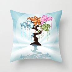 The Four Seasons Bubble Tree Throw Pillow