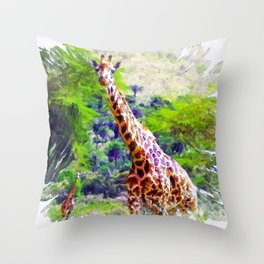 African Giraffe - Wondering Through Africa Throw Pillow