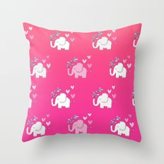 Elephant Love Walk Pink Throw Pillow