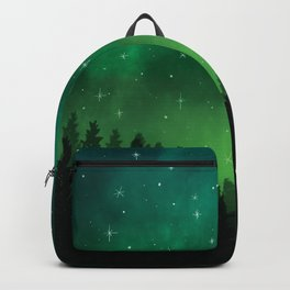Stars in Space Over Forest (green) Backpack
