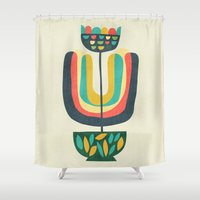 plant Shower Curtains featuring Potted Plant 3 by Picomodi