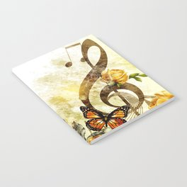 Butterfly Music Notes Notebook