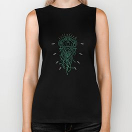 Cool Thin Line Jellyfish Drawing Biker Tank
