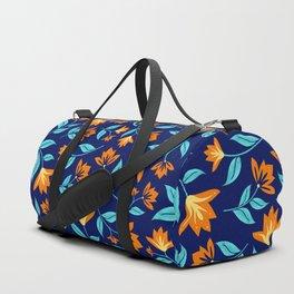 Modern Orange Blossom Floral Print Duffle Bag