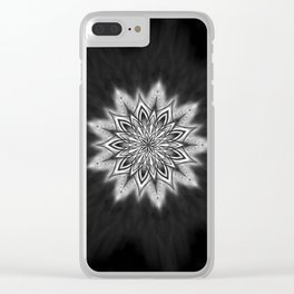 Black Ice Mandala Swirl Clear iPhone Case