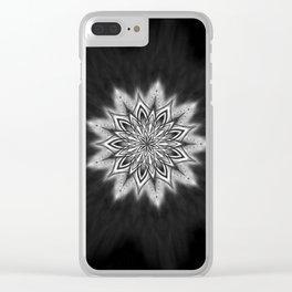 Black Ice Mandala Swirl Clear iPhone Case