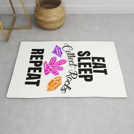 Eat Sleep Collect Rocks Repeat for Stone Lovers Rug