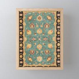 Oushak  Antique Gold Teal Turkish Rug Print Framed Mini Art Print