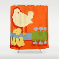 woodstock Shower Curtains featuring 1969- a tribute to  Arnold Skolnick by mystudio69