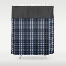 Blue grey plaid pattern Shower Curtain