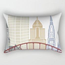 Pittsburgh V2 skyline poster Rectangular Pillow