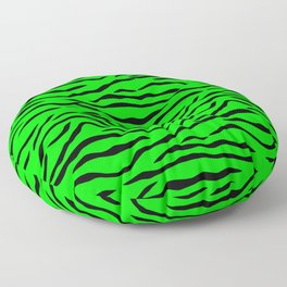 Bright Neon Green and Black Tiger Stripes Floor Pillow