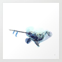 Alphabetical Animals - N is for Narwhal Art Print