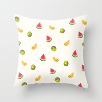 fruits Throw Pillows featuring Fruits by Carolin Vogt