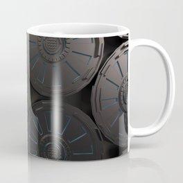 Dark futuristic technological shape with glowing lines Coffee Mug