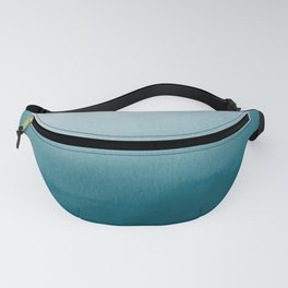 Tropical Dark Teal Inspired by Sherwin Williams 2020 Trending Color Oceanside SW6496 Watercolor Ombre Gradient Blend Abstract Art Fanny Pack